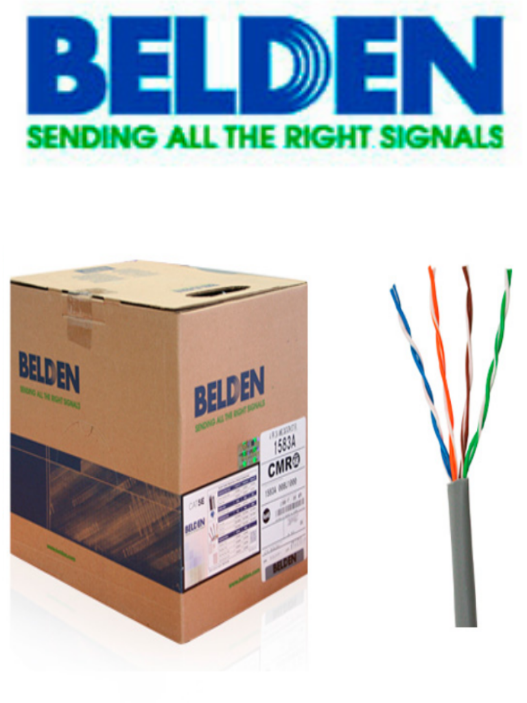 BELDEN 1583A008U1000 - Cable UTP / 4 Pares / Categoria 5E / 24  AWG / 305 Metros / 100% Cobre / Color gris/