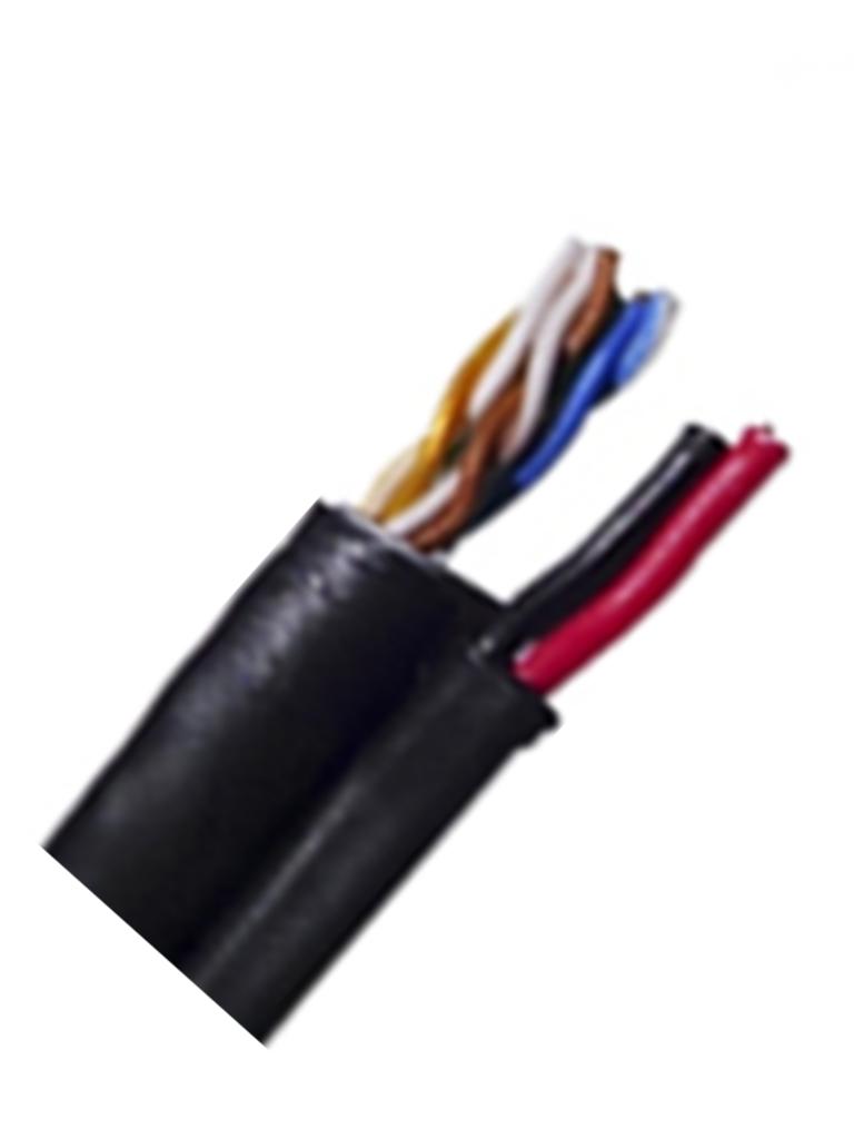 SAXXON OUTP5ECCAEXT2E - Cable UTP CCA / Categoria 5E / Color negro / Exterior / 305  Mts / 2 Cables de energia calibre 18  AWG