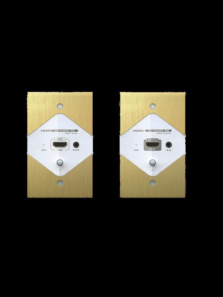 SAXXON LKV383W - Kit extensor  HDMI placa de pared por cable UTP / 120  Mts / Incluye transmisor y receptor /  1080p / CAT5e / 6 / 6A / H dBIT / Transmision ir