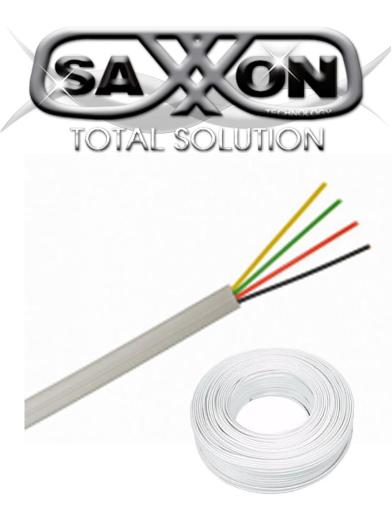 SAXXON OWAC4100J - Cable de alarma / 4 Conductores / CCA/ Calibre 22  AWG / 100 Metros / Recomendable para control de acceso / Videoportero / Audio / Reforzado