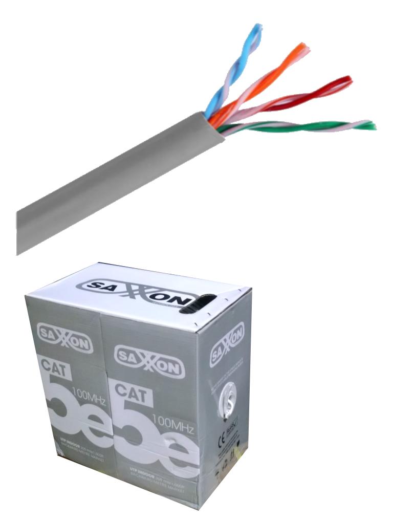 SAXXON OUTP5ECCA305G - Cable UTP CCA / Categoria 5E / Color gris / Interior / 305  Mts / CERT ISO9001 / UL 444 / ROHS / ANSI / Tia / EIA-568B