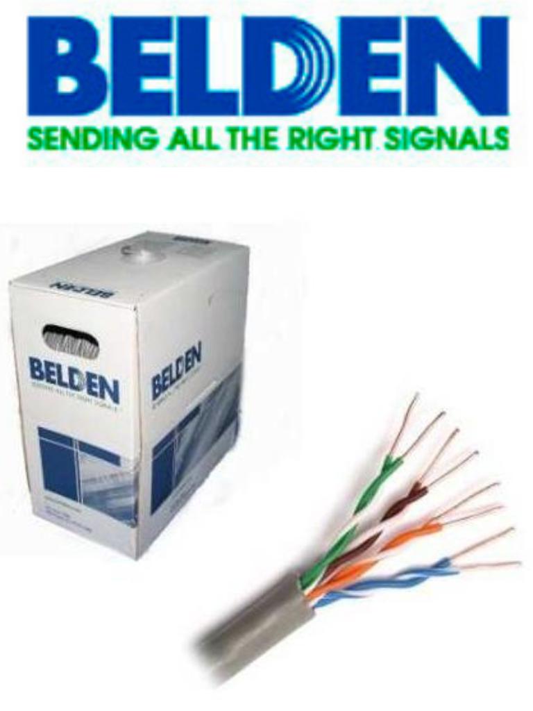 BELDEN 24120081000 - Cable UTP 100% cobre / Categoria 6+ / IBDN / GIGAFLEX 2412 CMR / Color gris / Bobina de 305  Mts