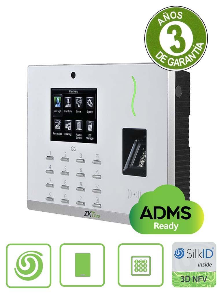 ZKTECO G2 - Control de Acceso y Asistencia / 20000 Huellas SILK ID / 20000 Tarjetas  ID / 200000 Registros / TCPIP /  USB / Green Label