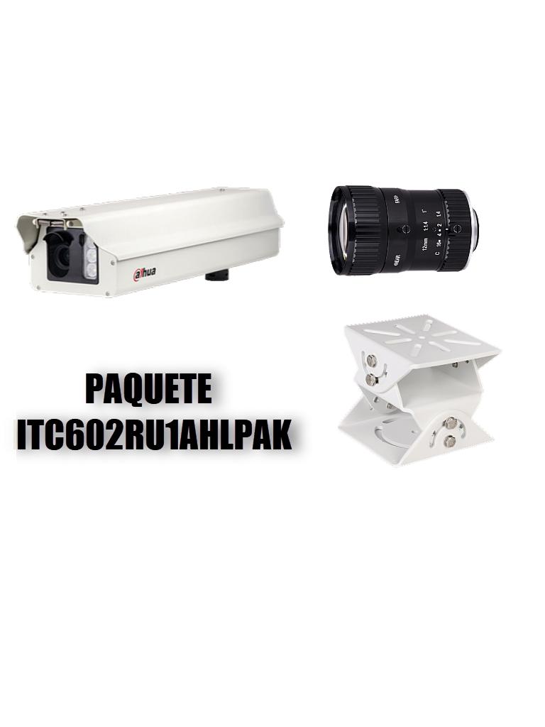 DAHUA ITC602RU1AHLPAK -PAQUETE CAMARA IP LPR DE 6.8 MP/ LENTE DE 12MM 8 MEGAPIXELES/ RECONOCIMIENTO DE PLACAS/ RANGO DE VELOCIDAD 0 A 200 KM/HR