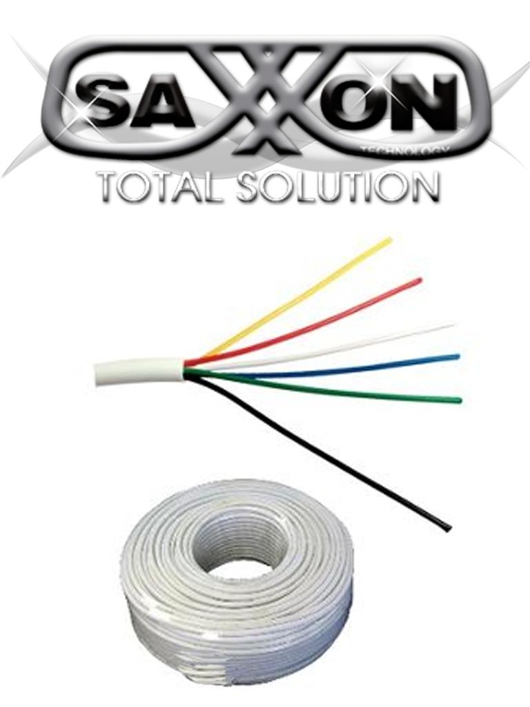 SAXXON OWAC6100J - Cable de alarma / 6 Conductores / CCA/ Calibre 22  AWG / 100 Metros / Recomendable para control de acceso / Videoportero / Audio / Reforzado