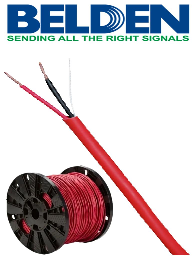 BELDEN 5320UL0021000 - Bobina de cable para sistemas de deteccion de incendio / 2 Conductores / Calibre 18 / Sin blindar / Rojo / 305  Mts