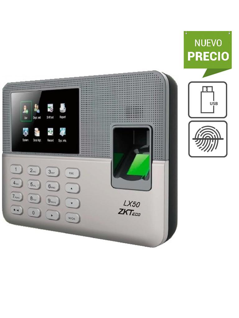 ZKTECO LX50 - Control de Asistencia Básico / 500 Usuarios / 500 Huellas / 500 Password / Descargas  USB en Hoja de Cálculo