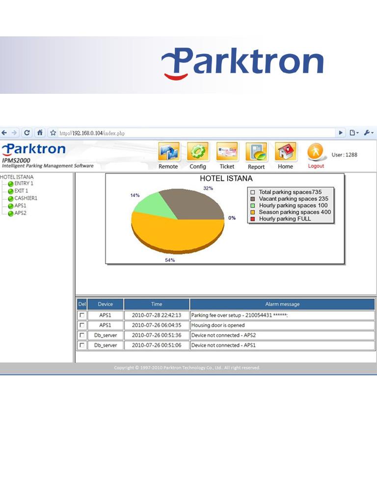 PARKTRON IPMS2000 - Software de administracion de estacionamiento / Alta y configuracion de terminales / Tarifas / Reportes