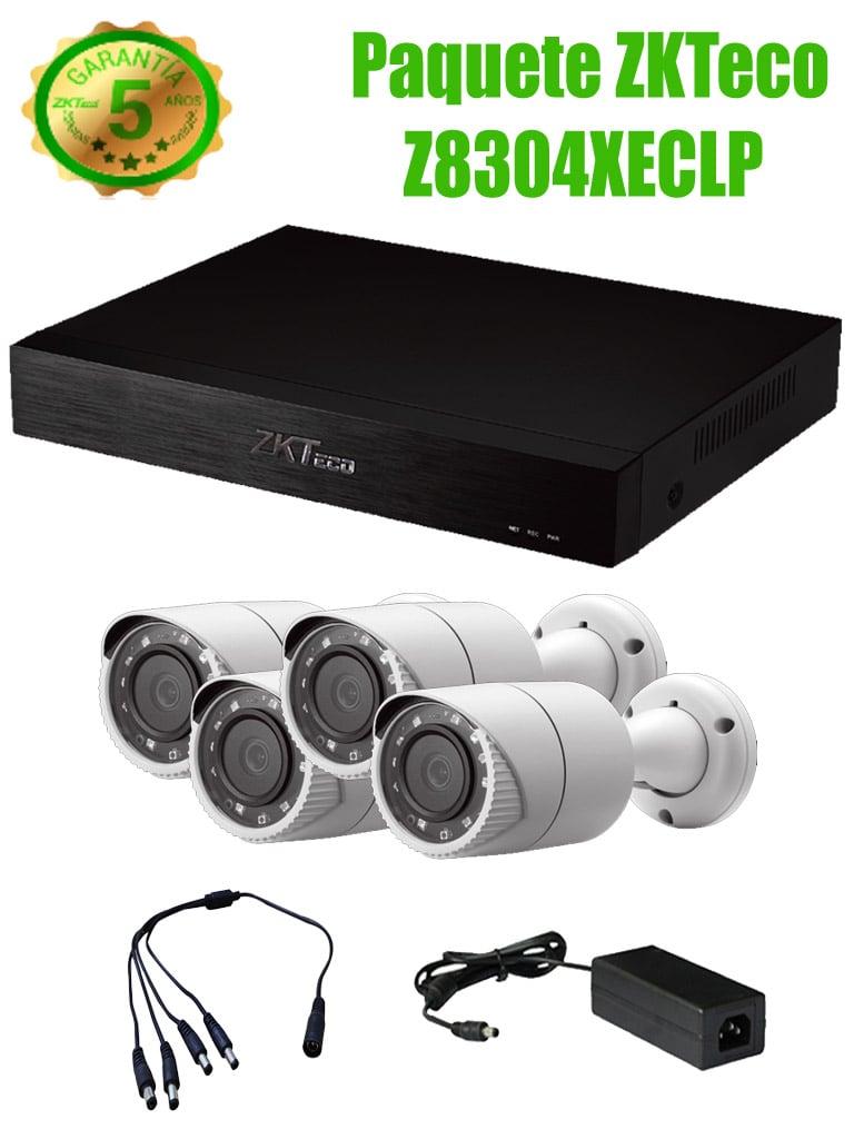ZKTECO Z8304XECLP - Paquete de 4 Canales 2 Megapixel / 4 Camaras Metalicas 1080P De 2.8mm / 1 Puerto HDMI / 1 Puerto SATA / P2P / 4 Rollos De Cable Siames De 20m / Fuente De Poder 12VDC 4.1A / 1 Divisor De Energia Para 4 Camaras
