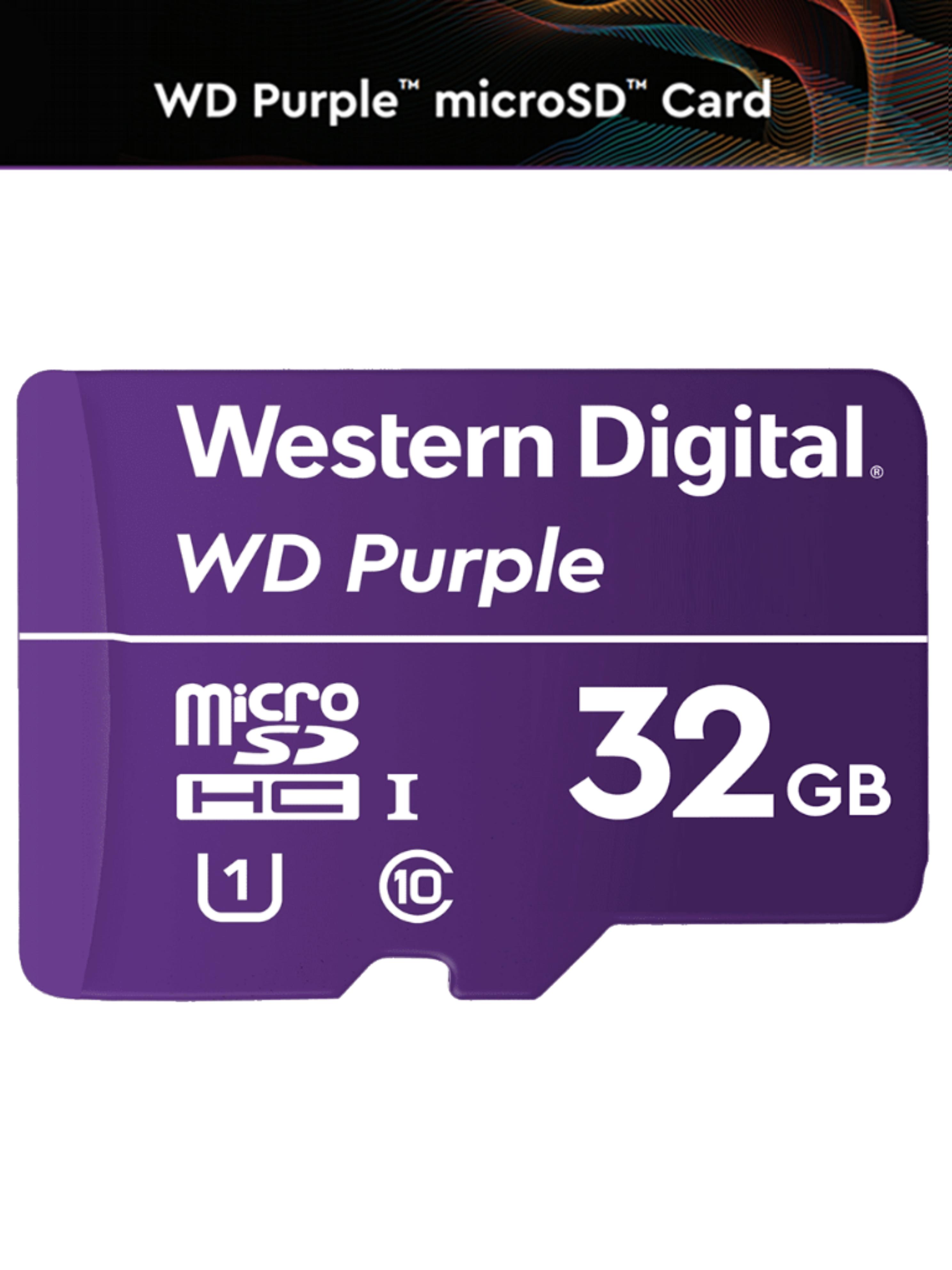 WESTERN WDD032G1P0A - Memoria de 32GB MICRO SDHC PURPLE / Especializada para videovigilancia 24 / 7 Clase 10 LECT 80MB / S ESC 50MB / S