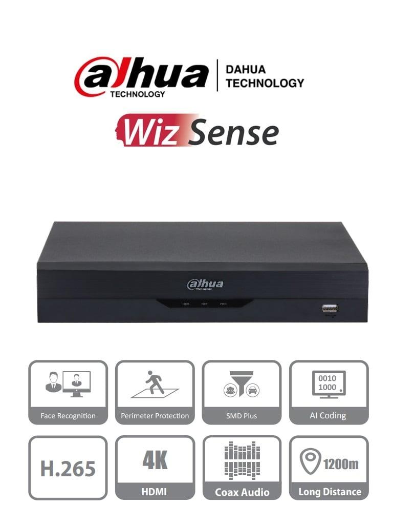 DAHUA XVR5108HS-4KL-I2 - DVR de 8 Canales 4k/ WizSense/ H.265+/ 8 Canales HDCVI+ 8 IP/ Hasta 16 Ch IP/ 2 Canales de Reconocimiento Facial/ SDM Plus/ Protección Perimetral/ 1 SATA de hasta 10TB/ Soporta HDCVI/AHD/TVI/CVBS/ IoT/ POS