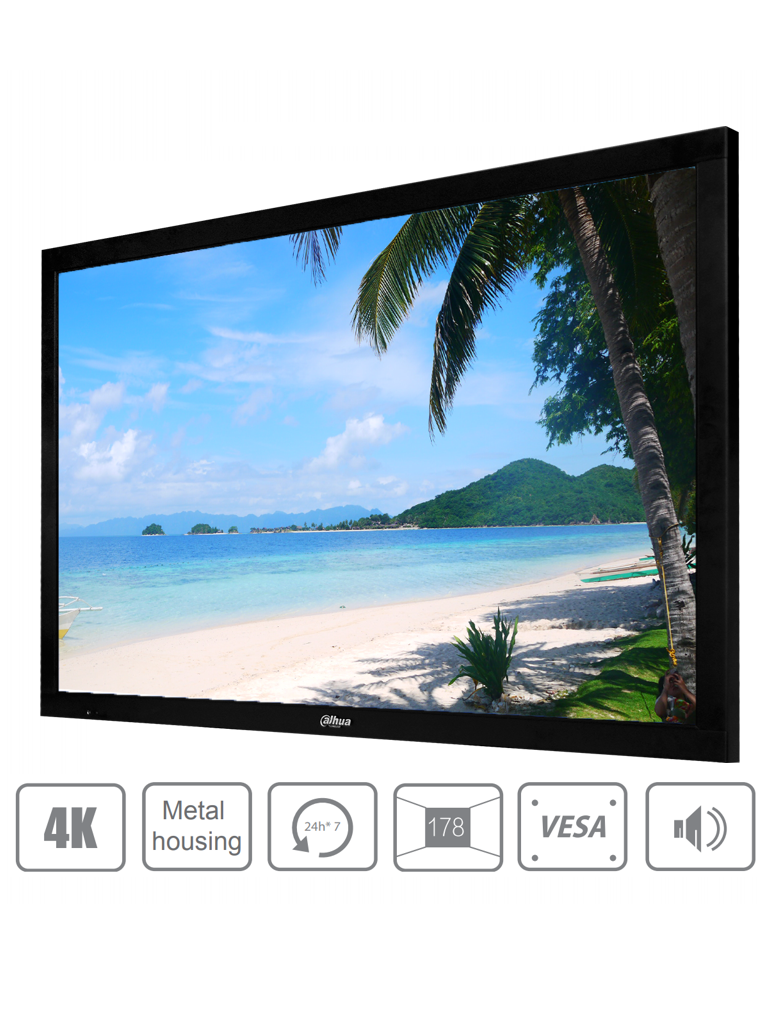 DAHUA DHL494K - Pantalla 4K 49 pulgadas profesional para CCTV / Resolucion ultra  HD / Panel nivel industrial / 24 / 7 / Brillo 500 NITS / 8 MS / Altavoces