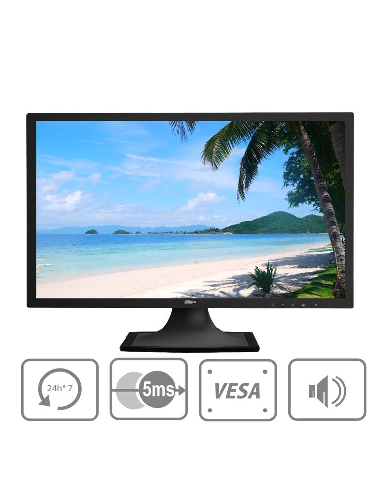 DAHUA DHL22F600 - Monitor de 22 pulgadas / Profesional para CCTV / F HD / Panel grado industrial / 24 / 7 / VGA /  HDMI / Brillo 200 NITS / Altavoces