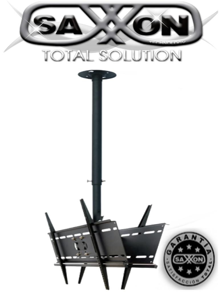 SAXXON SXVMCP042 - Soporte para monitor de techo dual / 2 Monitores 37 - 70 PLG / Ajustable altura e inclinacion / Acero / VESA Hasta 400X400 / Carga 81  Kg