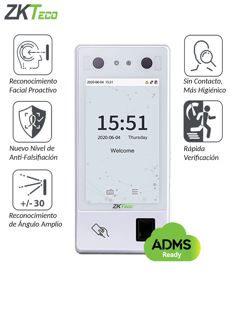 ZKTECO G4L - Control de Acceso y Asistencia de Reconocimiento Facial Visible Light / Green Label / 10000 Huellas / 10000 Tarjetas ID / 10000 Rostros / 1,000 000 de Eventos / #MTD / #TVCalGritodeMexico / #Monedero
