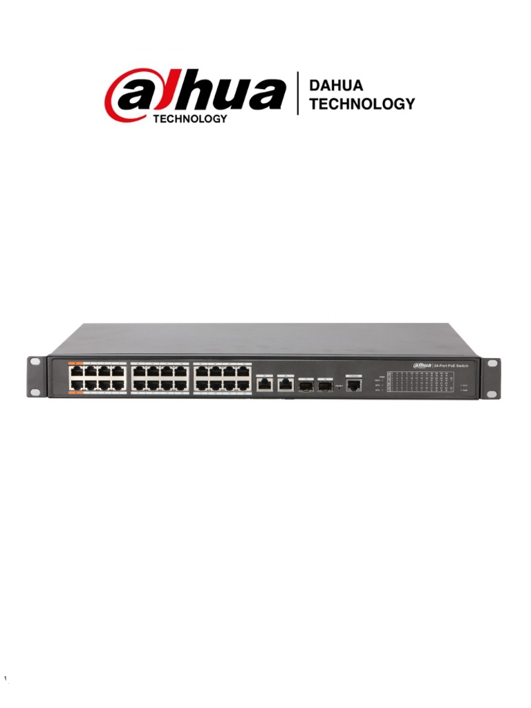 DAHUA DH-PFS4226-24ET-360 - Switch de 24 Puertos PoE/ Administrable Capa 2/ Indusrial/ 360W/ Soporta PoE, PoE+ y Hi PoE/ 2 Puertos 10/100/1000 Base-T/ 2 Puertos Combo Base X/ 24 Puertos Poe Base-T/