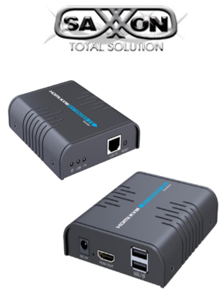 SAXXON LKV373KVM- Kit extensor HDMI KVM sobre IP/ Punto a punto/ Resolucion  1080p/ Hasta 120 metros/ CAT 5E/ 6/ 30 HZ / 2 Puertos  USB 2.0 / Teclado / Raton / 5 VCD / Plug and play