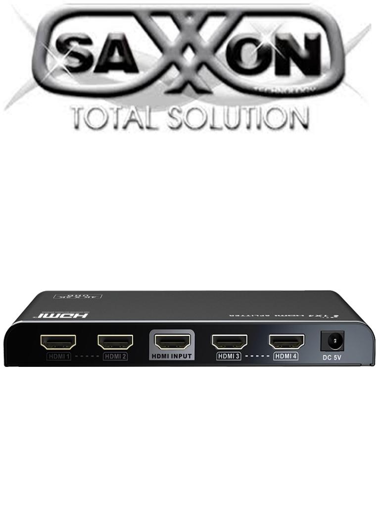 SAXXON LKV314V20- Divisor HDMI de 1 entrada y 4 salidas/ 4K X 2K @ 60 Hz/ / 1080P / Plug and play/ HDMI 2.0/ HDCP2.0/ HDMI 3D