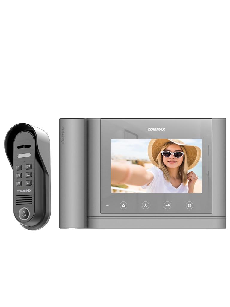COMMAX PAQCDV70MHM - Paquete de monitor acabado plata de 7 pulgadas con auricular y frente de calle con Password