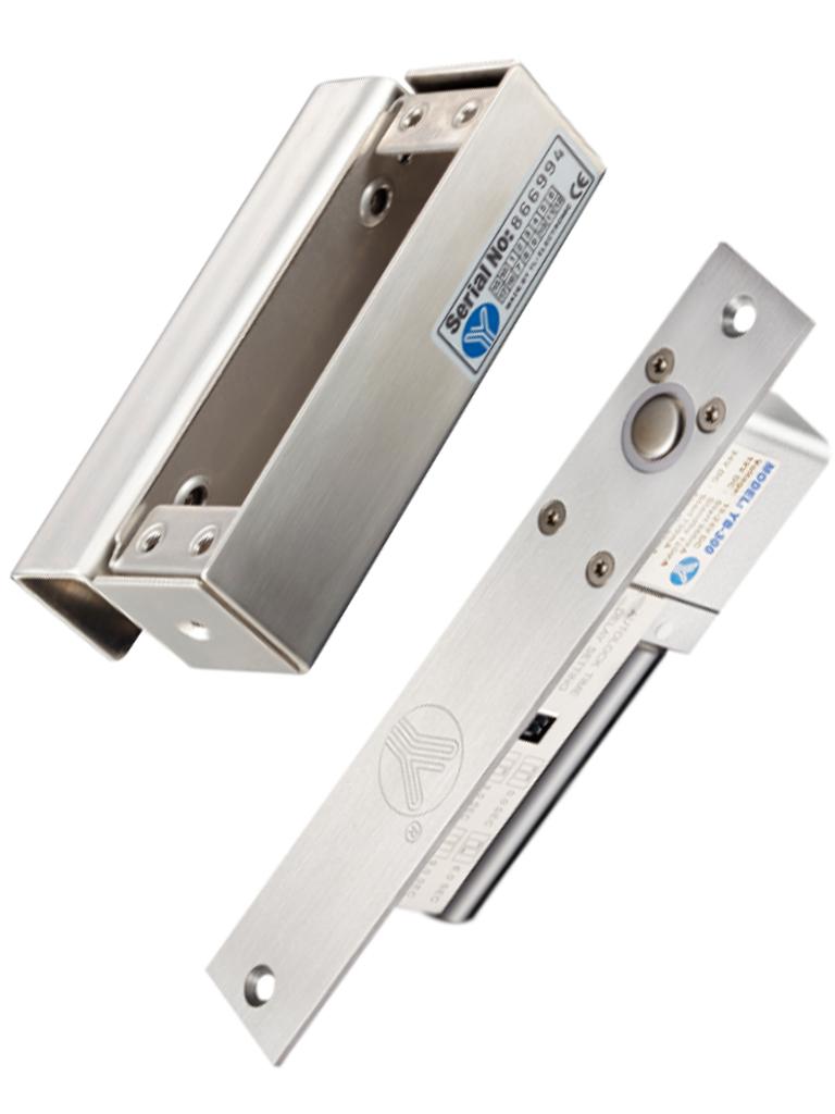 YLI YB300PACK - Paquete de cerradura de perno para control de acceso de puertas con retardo configurable de 3, 6 y 9 segundos incluye soporte de instalacion modelo YM600/ Voltaje dual 12 o 24 VDC