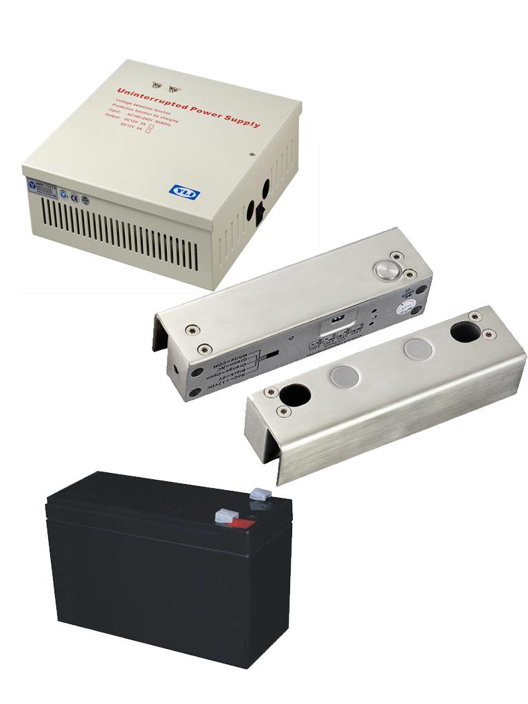 YLI YB500UPACK- Paquete de cerradura especial para puertas de vidrio modelo YB500 incluye gabinete con salida de energia de 12VDC y bateria de respaldo de 12VDC a 7AH