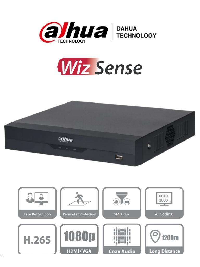 DAHUA XVR5104HS-4KL-I2 - DVR de 4 Canales 4k/ WizSense/ H.265+/ 4 Canales HDCVI+4 IP/ Hasta 8 Ch IP/ 2 Ch de Reconocimiento Facial/ SDM Plus/ Protección Perimetral/ 1 SATA de hasta 10TB/ Soporta HDCVI/AHD/TVI/CVBS