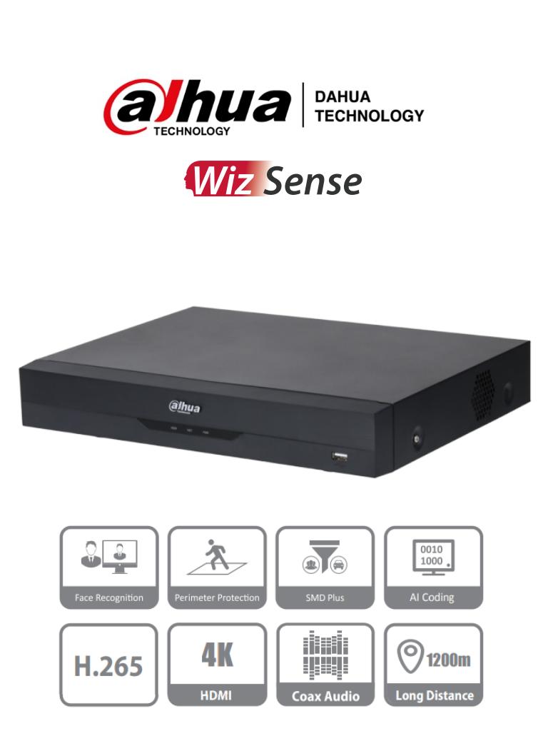DAHUA XVR5116H-4KL-I2 - DVR de 16 Canales 4k/ WizSense/ H.265+/ 16 Canales HDCVI+ 16 IP/ Hasta 32 Ch IP/ 2 Canales de Reconocimiento Facial/ SDM Plus/ Protección Perimetral/ 1 SATA de hasta 10TB/ Soporta HDCVI/AHD/TVI/CVBS/ IoT/ POS
