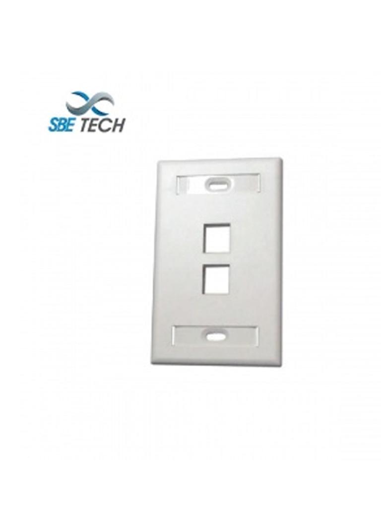 SBETECH SBE-2517-2P-WT - Placa de pared de 2 puerto color blanco