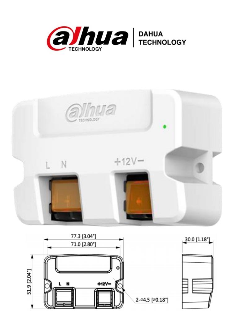 DAHUA PFM320D-015 - Fuente de Poder de 12v 1.5 Amp/ Tipo Convertidor de 110 VCA a 12VCD1.5A/ Led Indicador/ Facil Instalación/ Certificaciones CE, FCC/
