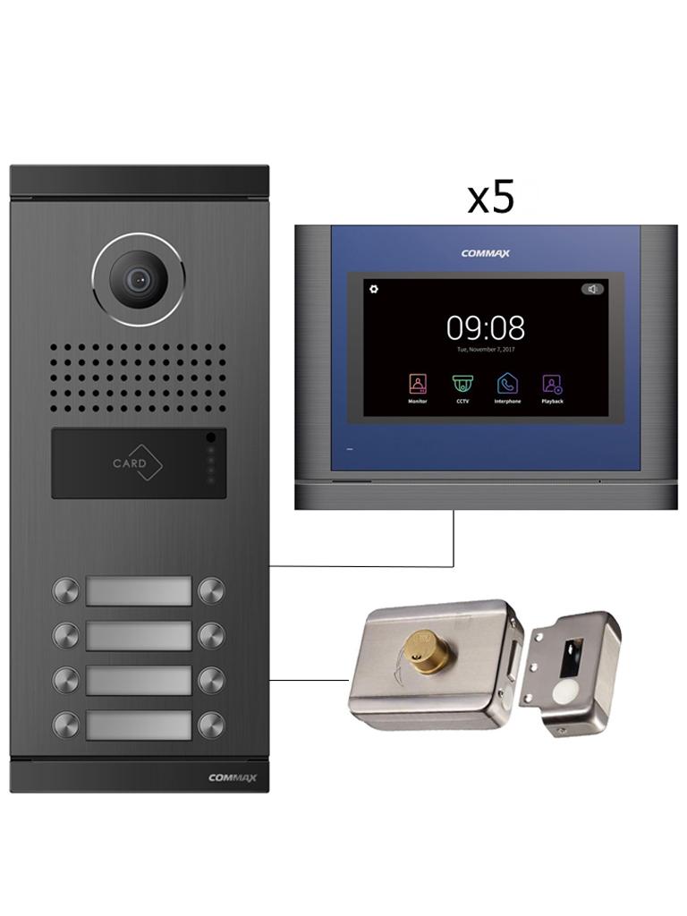 COMMAX PACKDRC10ML - Paquete para 5 departamentos con marcación directa no necesita distribuidores incluye frente de calle, 5 Monitores CDV704MA y cerradura para control de puerta/ Soporta apertura con tarjeta mifare