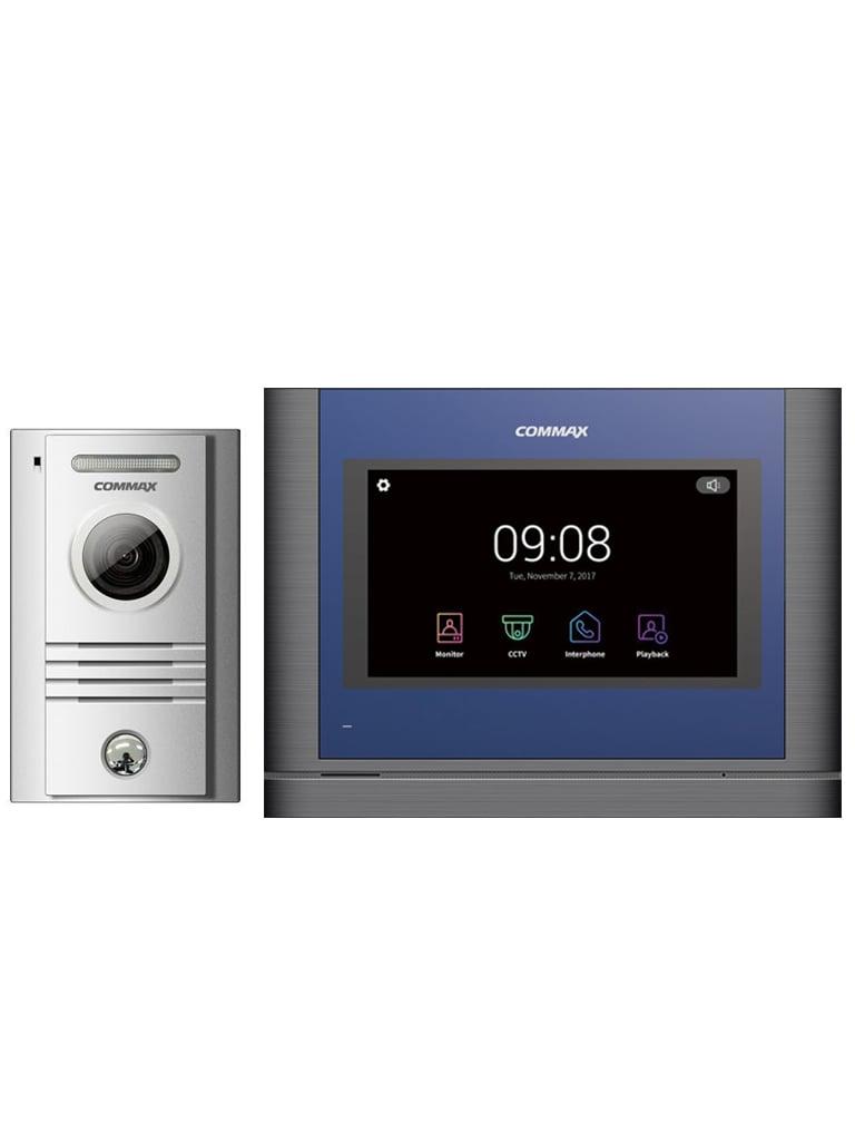 COMMAX PAQDRC40K704MA - Paquete con frente de calle conexion a 4 hilos y monitor touch de 7 pulgadas / Soporta SD para fotos y video