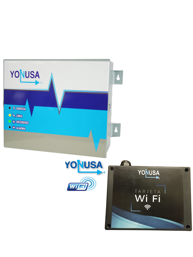 YONUSA EY1200012725WIFI - Paquete de Eenergizador de 12,000V sin interfase, hasta 1,200 Mts lineales y modulo WiFi para aplicacion en smartphone android & iOS