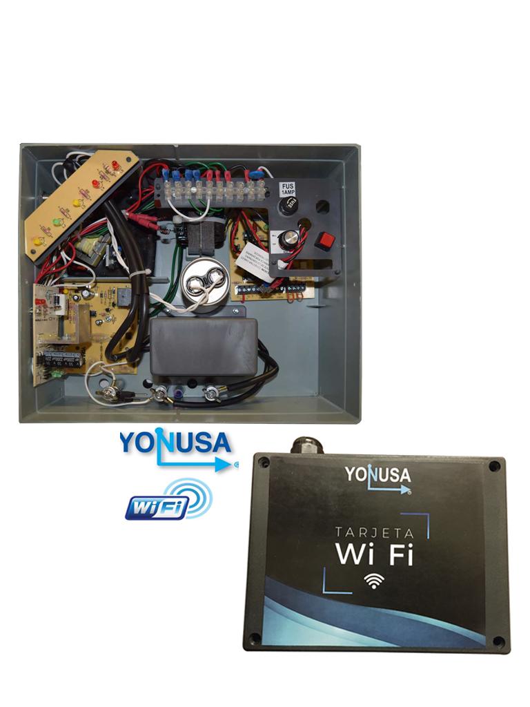 YONUSA EY10000127AFWIFI - Paquete de ENERGIZADOR de alta frecuencia ANTIPLANTAS de 10000V y modulo  WiFi para control desde APP