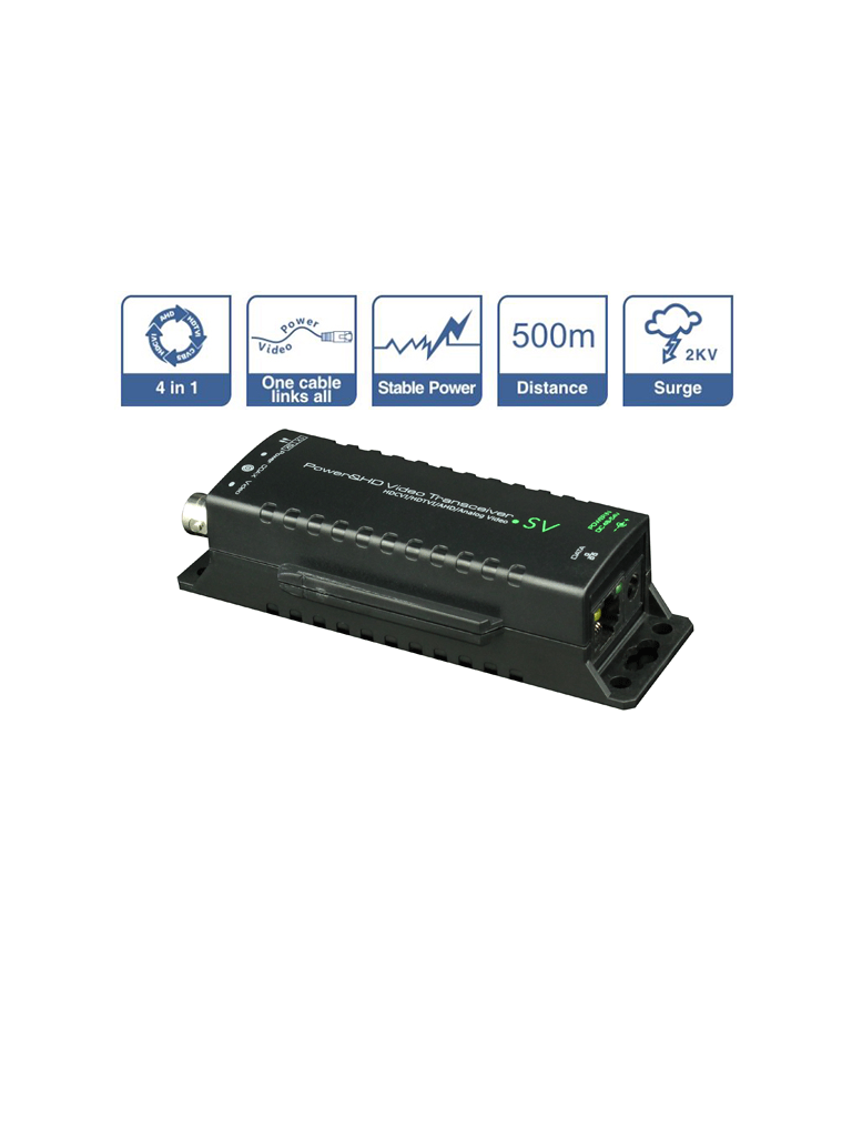 SAXXON UTP101PVHD5SV- TRANSMISOR DE ENERGIA Y RECEPTOR DE VIDEO/ HDCVI/ TVI/ AHD/ CVBS/ CORRIENTE 0.8 A/ DISTANCIA MAXIMA 500 METROS