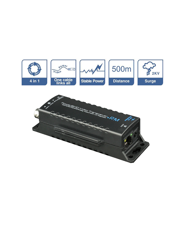 SAXXON UTP101PVHD5RM - Transmisor de video y receptor de energia /  HDCVI / TVI / AHD / CVBS / Corriente 0.8 a / Distancia maxima 500 m