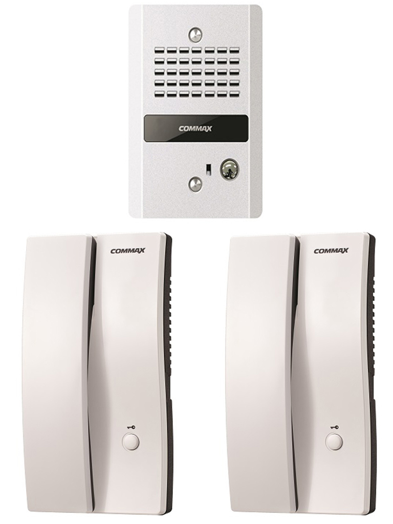 COMMAX DP2SDR2GNPACK - Paquete de audioportero frente de calle con 2 equipos de interfon con conexión directa a 110V y apertura de puerta