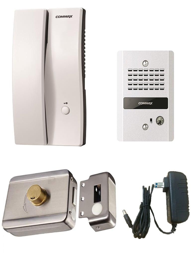 COMMAX PAQDP2SDR2G - Audioportero interfon y frente de calle / 150  Mts / Incluye fuente 12 VDC y contra chapa inteligente