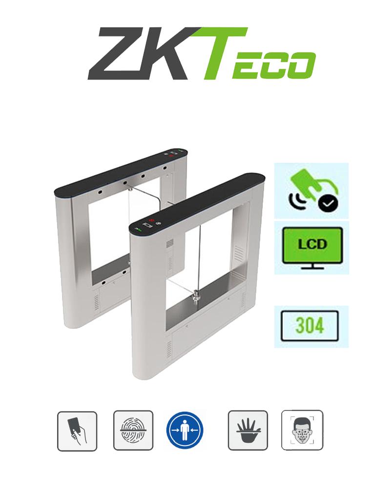ZKTECO SBTL5000 - Barrera Abatible un Carril Bidireccional / Acero SUS304 / Aletas de Cristal Templado / 25 a 30 Personas x Min. / 110V / Carril 65 cm / 2 millones de Ciclos / Interior / No cuenta con Lectores y Panel