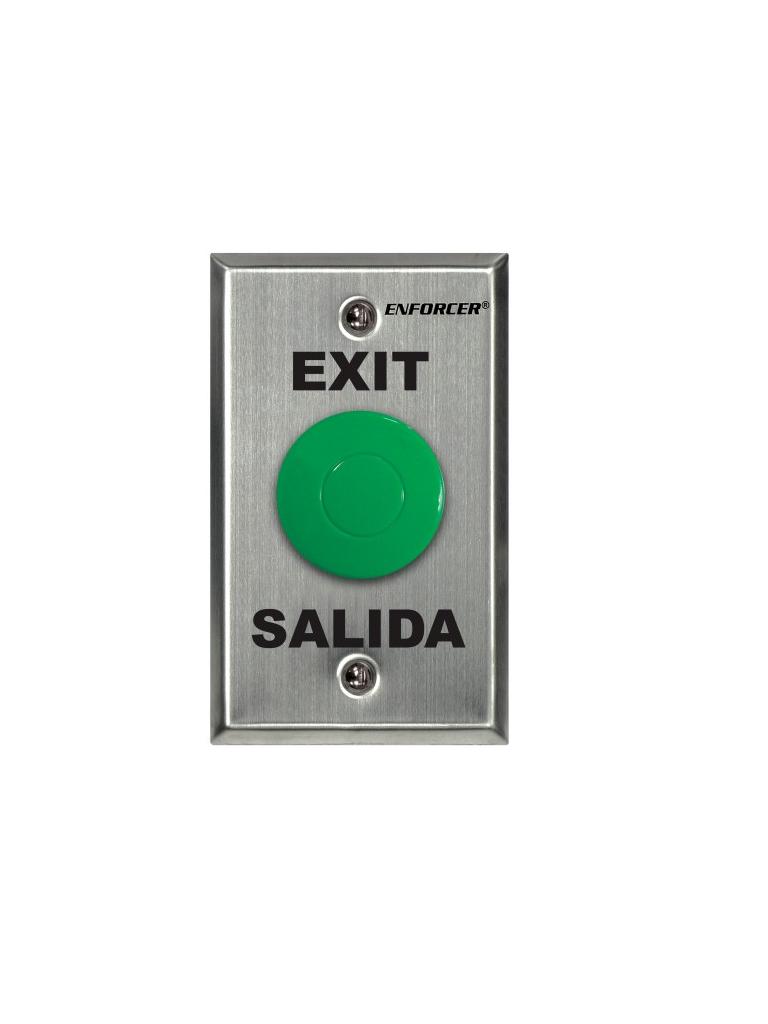 """SEC SD7201GCPE1Q - Placa Con Botón Para Presionar De Color Verde De Salida. """"Exit"""" y """"Salida,"""" SPDT"""