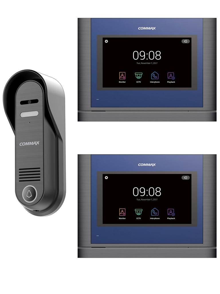 COMMAX PAQCDV704MA - Paquete con frente de calle DRC4CP con resolución de 1mp y 2 monitores CDV704MA de 7 pulgadas touch con intercomunicación y guardado de imagen y video en SD