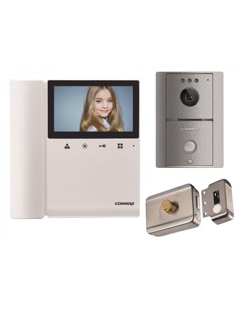 COMMAX PA2 - Paquete de monitor color 4.3 pulgadas y frente de calle gris incluye cerradura inteligente no necesita de configuracion/ Audio y video y funcion de apertura de puerta