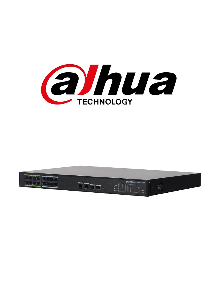 DAHUA LR221816ET240 - Switch  PoE 16 puertos / 8 Puertos E PoE hasta 800  Mts con camaras E PoE / 240  Watts / SWITCHING 8.8G / 802.3af / 802.3at / HI- PoE