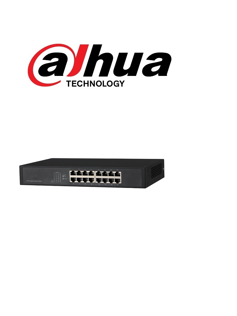 DAHUA DHPFS301616GT- SWITCH GIGABIT 16 PUERTOS / NO ADMINISTRABLE/ SWITCHING 32G/ CON PROTECCION DE DESCARGAS/  HZTAGODAH