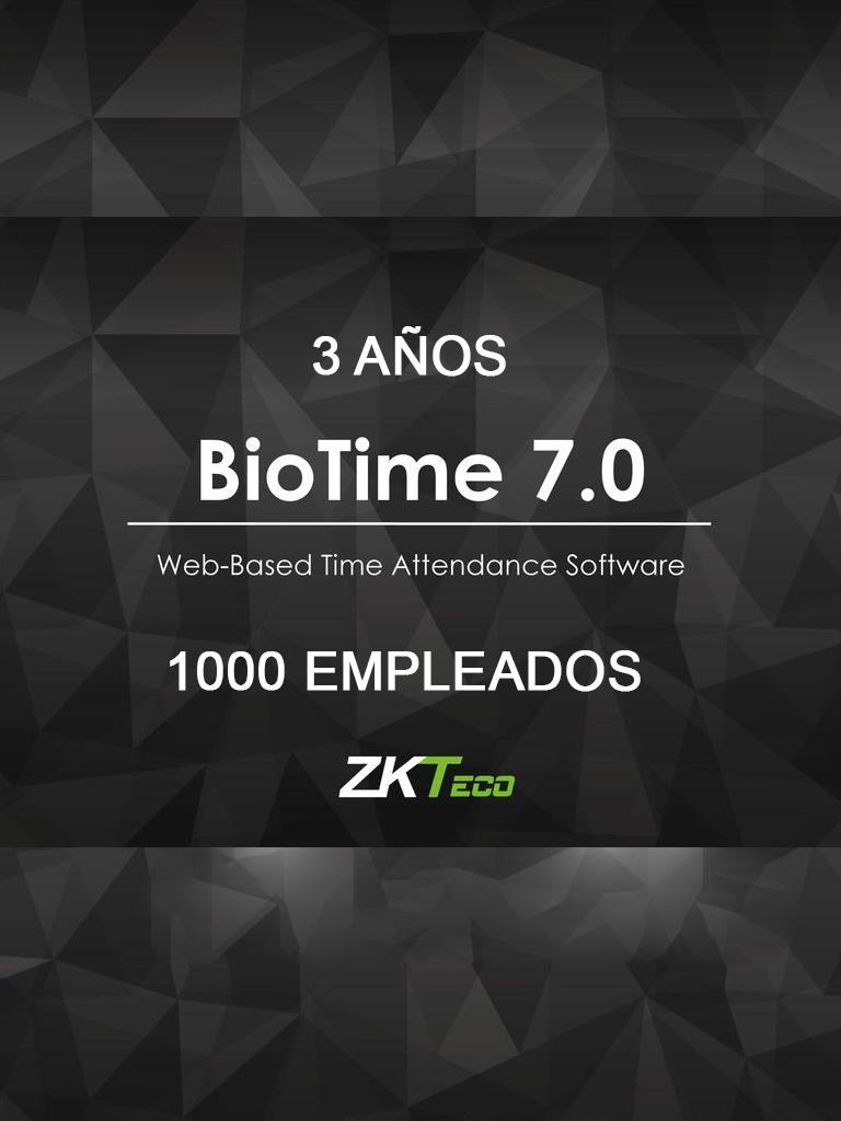 ZK BIOTIME7L3Y - LICENCIA DE ASISTENCIA / 3 AÑOS / VERSION WEB / PARA 10 TERMINALES CENTRALIZADAS / 1000 EMPLEADOS