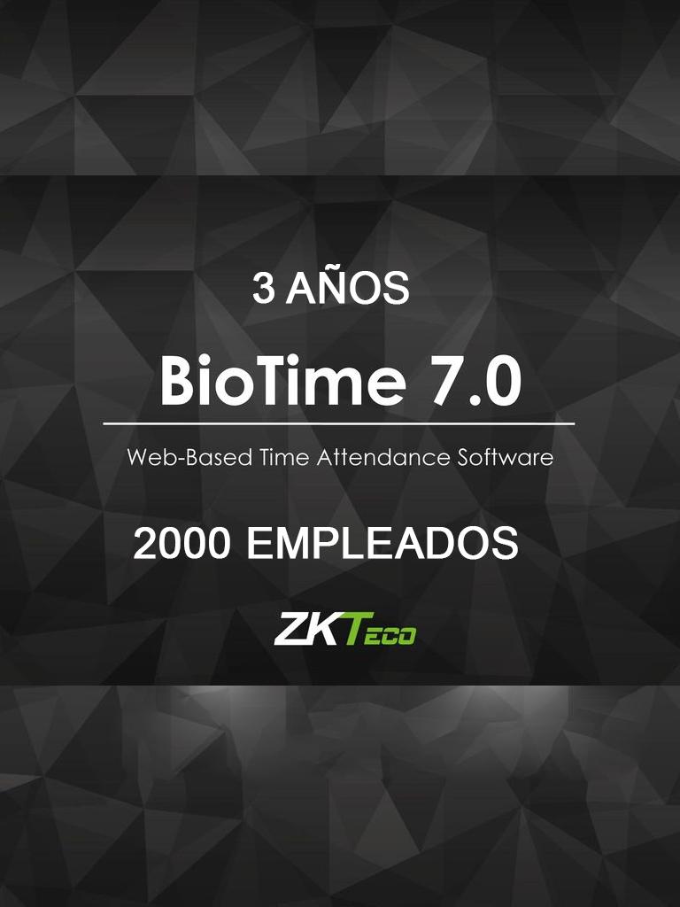 ZK BIOTIME7STAND3Y - LICENCIA DE ASISTENCIA / 3 AÑOS / VERSION WEB / PARA 20 TERMINALES CENTRALIZADAS / 2000 EMPLEADOS