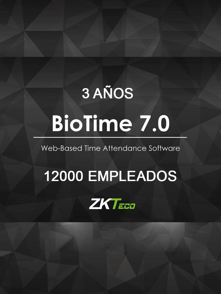 ZK BIOTIME7ENTER3Y – LICENCIA DE ASISTENCIA / 3 AÑOS / VERSION WEB / PARA 100 TERMINALES CENTRALIZADAS / 12000 EMPLEADOS