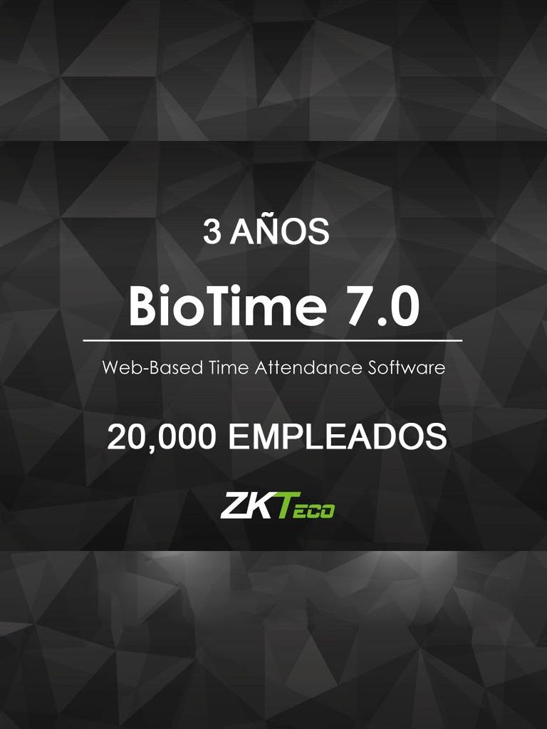 ZK BIOTIME7PROF3Y – LICENCIA DE ASISTENCIA / 3 AÑOS / VERSION WEB / PARA 200 TERMINALES CENTRALIZADAS / 20000 EMPLEADOS