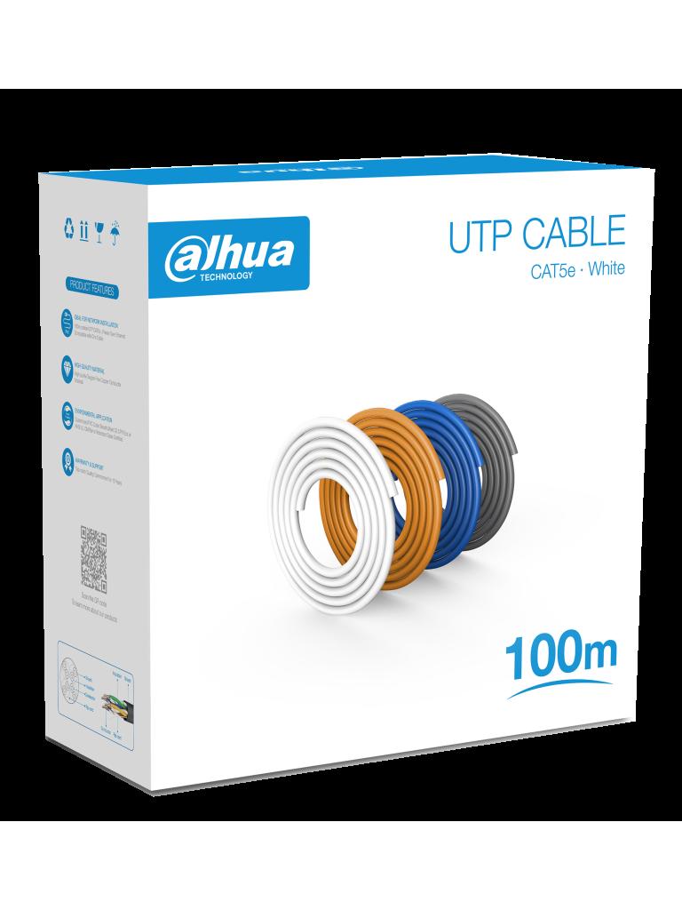 DAHUA PFM920I-5EU-U-100 - Bobina de 100 Mts de Cable UTP Cat5e/ 100% Cobre/ Color Blanco/ Cubierta Retardante de Flama con Certificacación ANSI/ UL CM/ Ideal para Video y Redes/