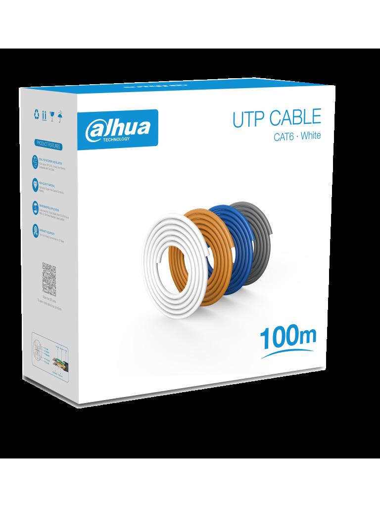 DAHUA PFM920I-6UN-C-100 - Bobina de 100 Mts de Cable UTP Cat6/ 100% Cobre/ Color Blanco/ Cubierta Retardante de Flama con Certificacación ANSI/ UL CM/ Ideal para Video y Redes/ #LoNuevo
