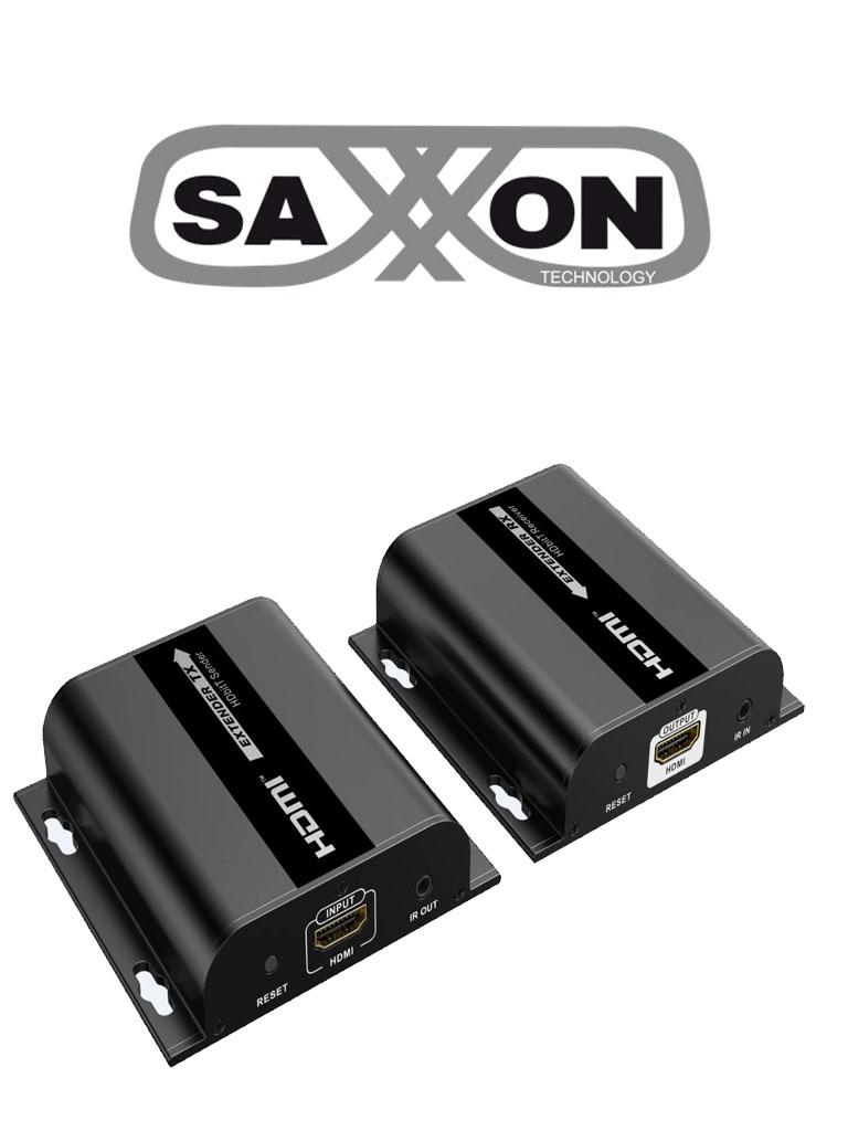 SAXXON LKV38340- Kit extensor HDMI sobre IP/ Resolucion 1080p/ Cat 5e/ 6/ hasta 120 metros/ Hasta 253 receptores/ Delay de 70ms/ HdBIT/ Transmisor de IR/ Plug and play